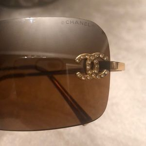 CHANEL Accessories - CHANEL Authentic Brown CC Logo Swarovski Crystals